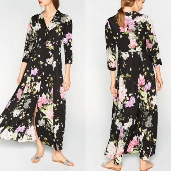 f8610544633b Zara Dresses | Floral Button Down Maxi Dress | Poshmark